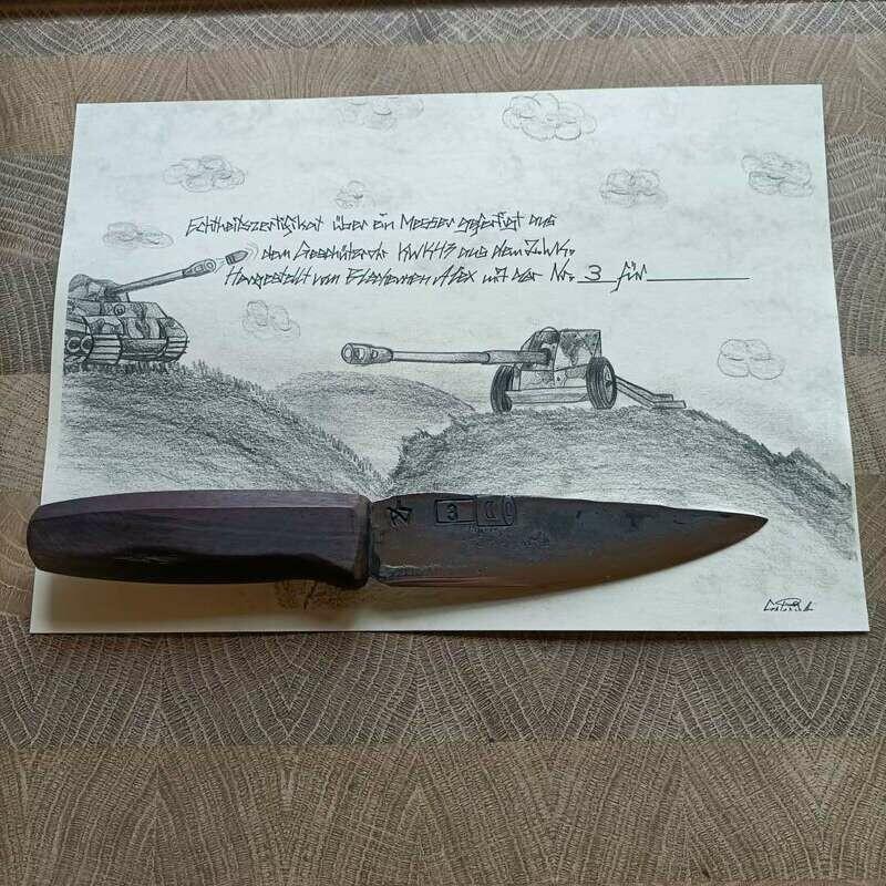 Küchenmesser mit Klinge aus dem Geschützrohr KWK43 aus dem 2 Weltkrieg.