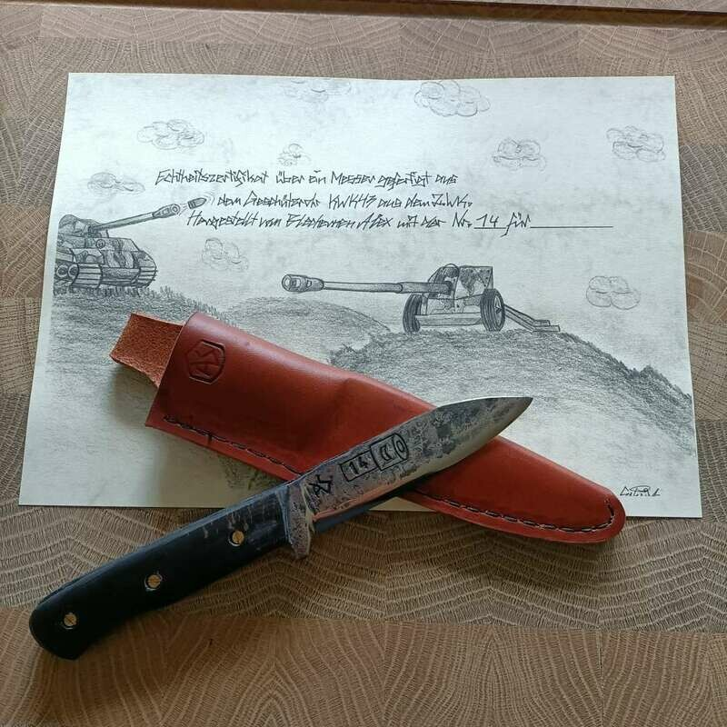 Messer aus den Geschützrohr KWK43 aus dem 2 Weltkrieg. NR.14
