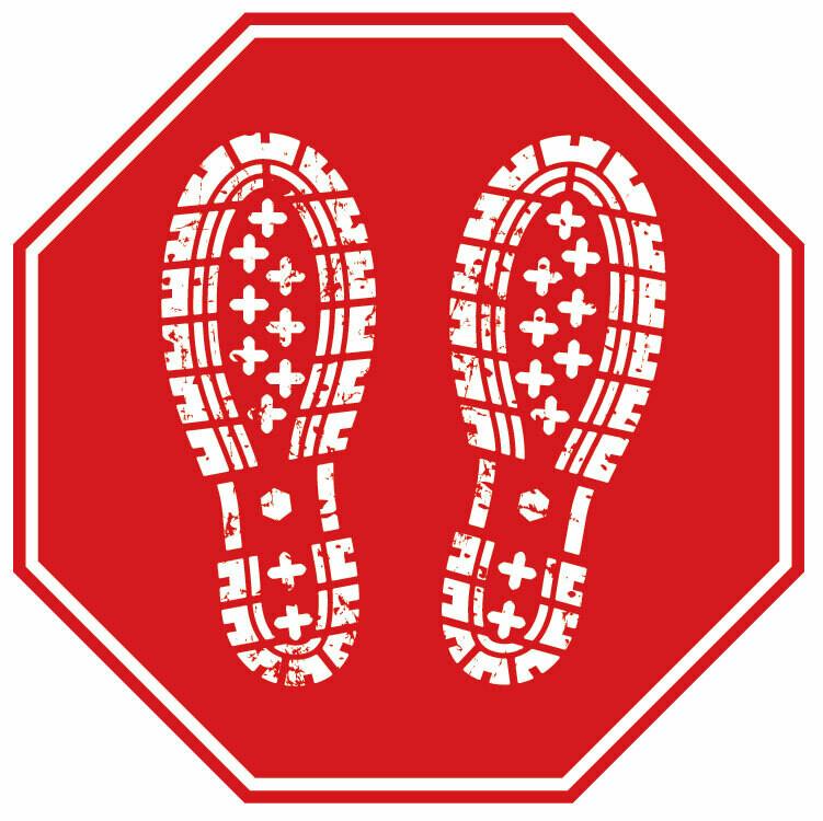 Floor Decal Distancing Dot -Footprints/Red Octagon