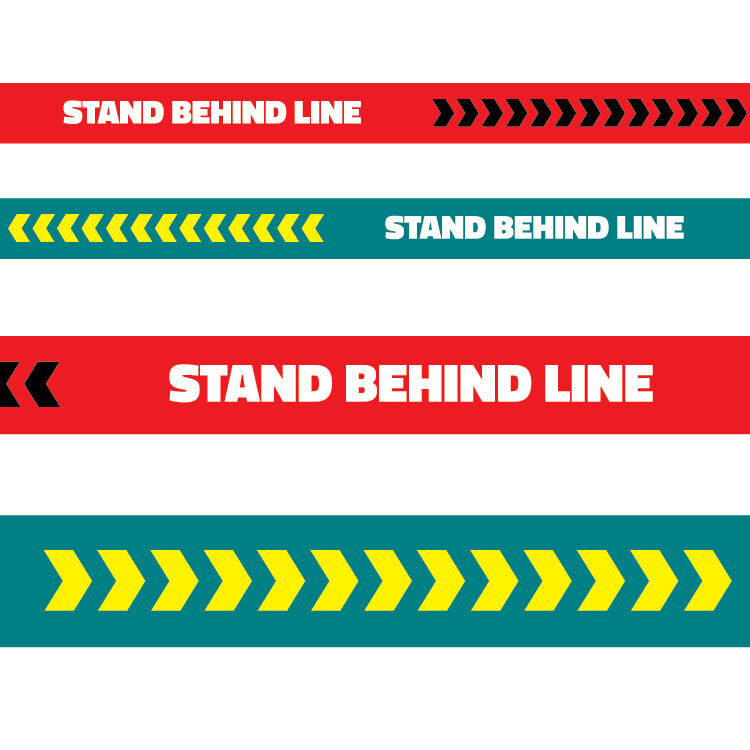 Floor Physical Distancing Line -Red/Teal 'Stand Behind Line'