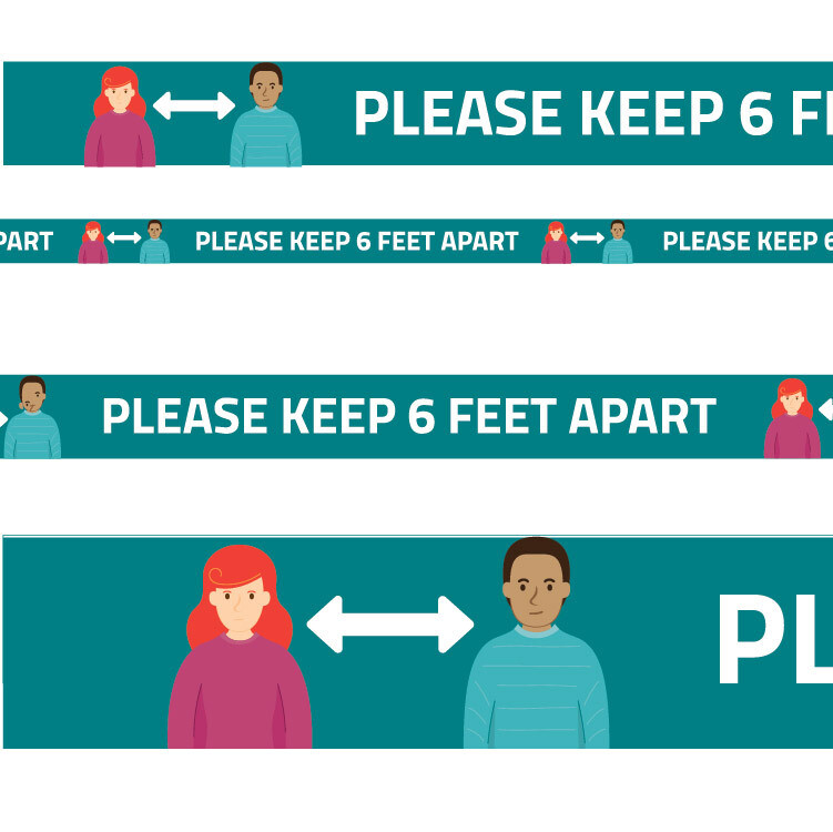 Floor Physical Distancing Line -Teal, Full Colour