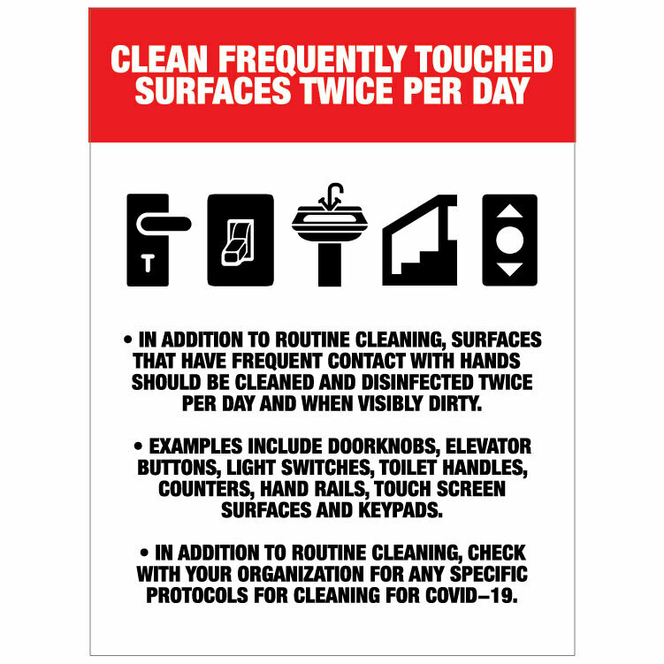 Clean Frequently Touched Surfaces -Colour Red/black