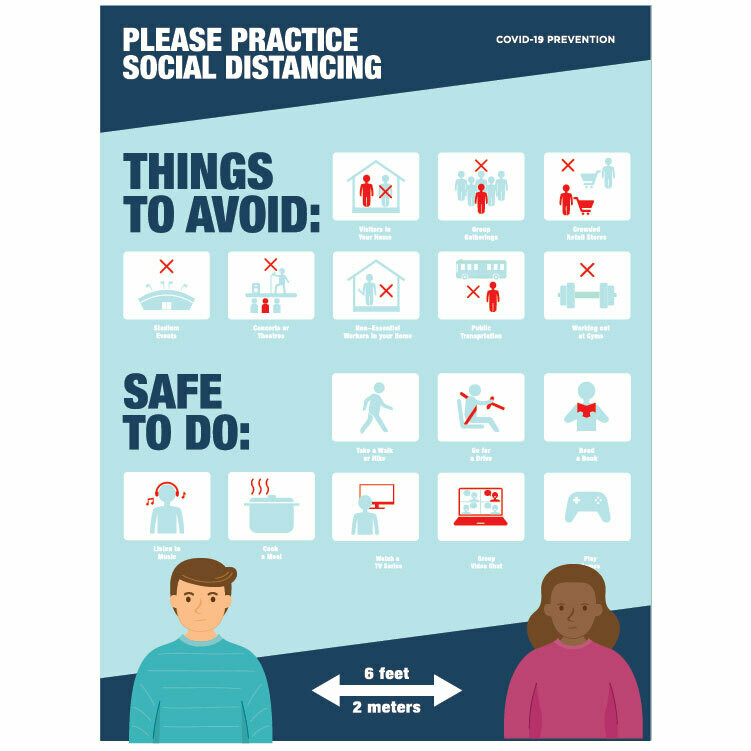 Practice Social Distancing -'Things to Avoid', 'Safe to do'