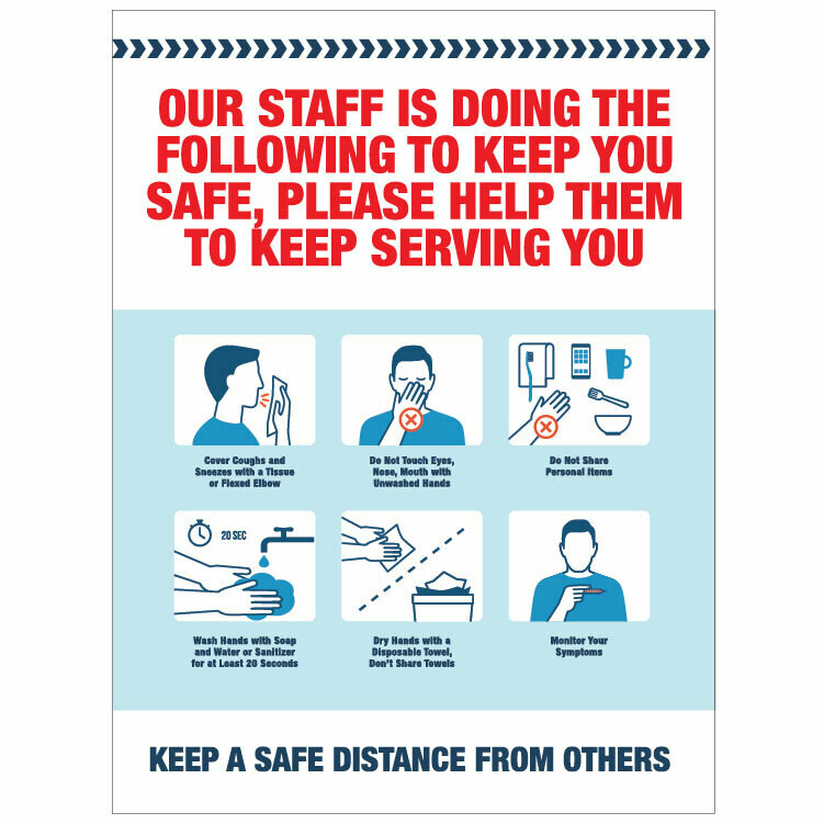 Staff Steps to Keep You Safe Decal -Red Headline