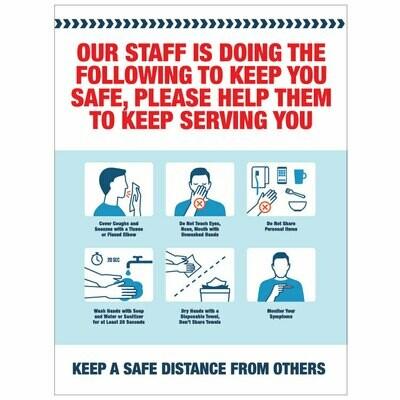 Staff Steps to Keep You Safe Decal -Red Headline
