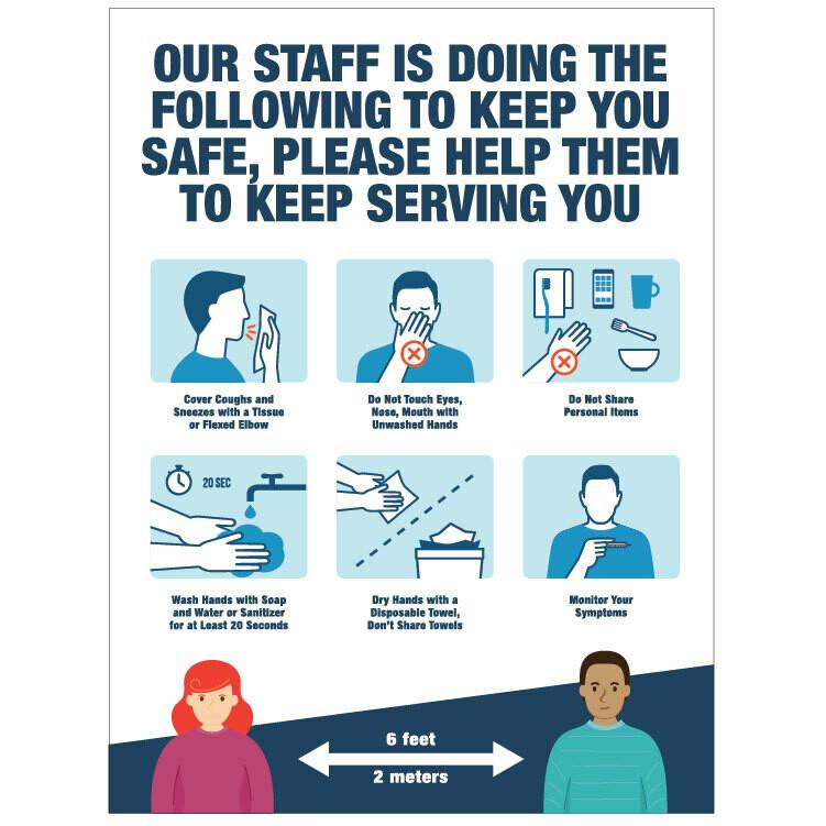 Staff Steps to keep you Safe Decal -Teal Headline