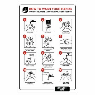 Hand Washing Instructions -Step by Step, red/black