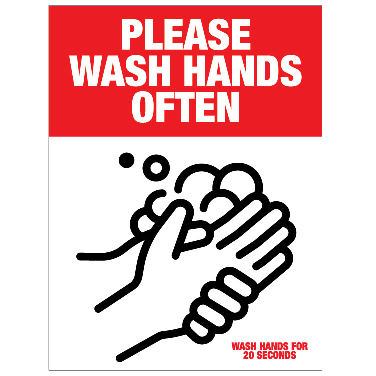Wash Hands Often Please -red/black
