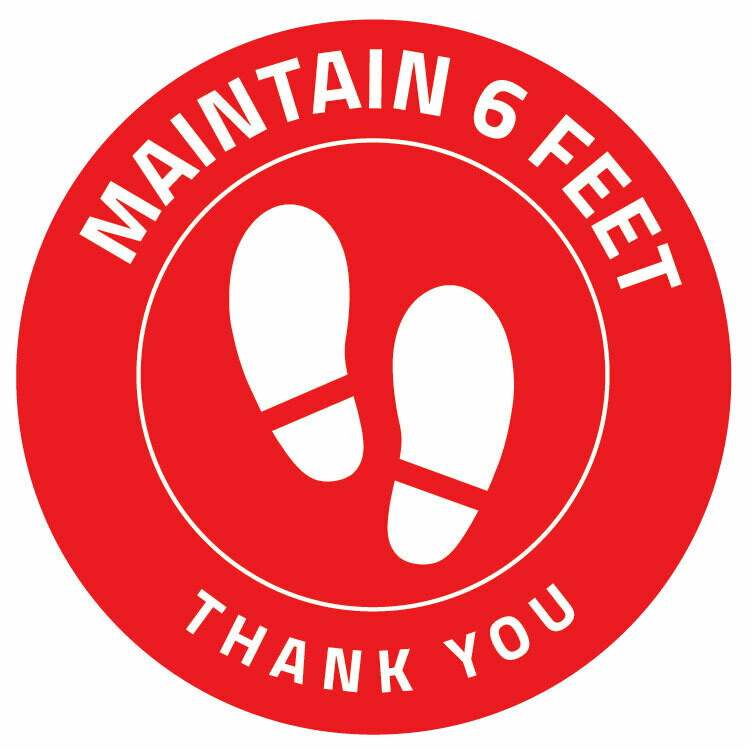 Floor Decal Distancing Dot -Circle 'Maintain 6ft Thank you' Red