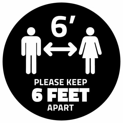 Floor Decal Distancing Dot -Black Circle 'Please Keep 6ft Apart'