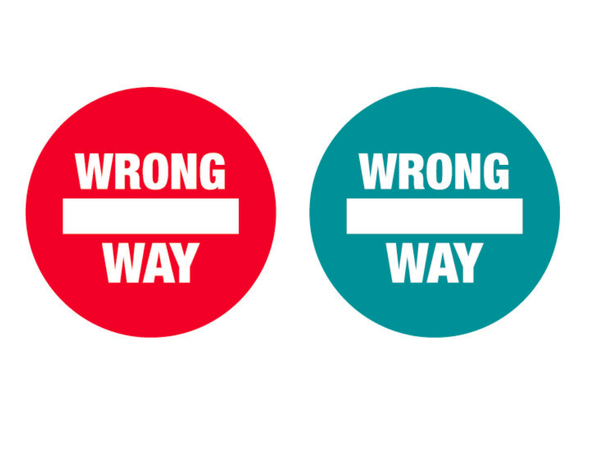 "Floor Decal ""Wrong Way"" Dot"