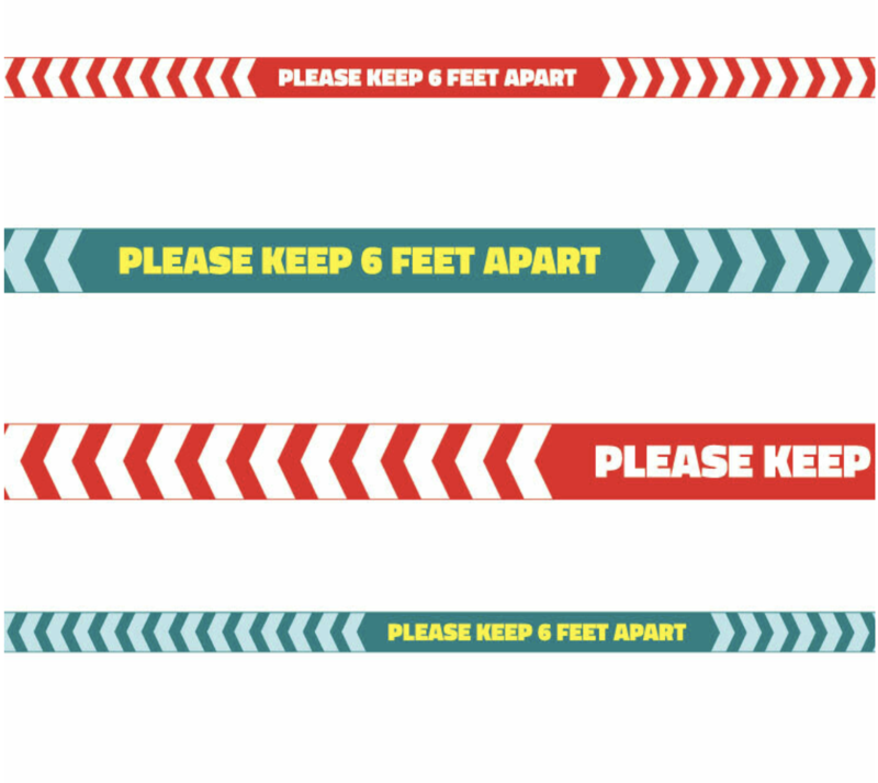 Floor Physical Distancing Line -Red/Teal '6 ft Apart'