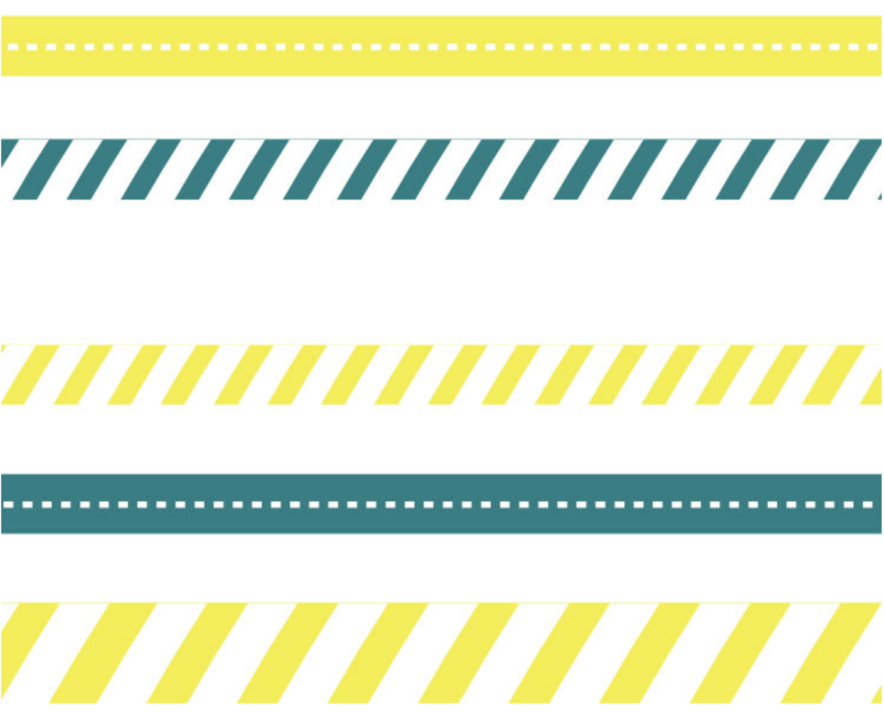 Floor Physical Distancing Line -Yellow/Teal