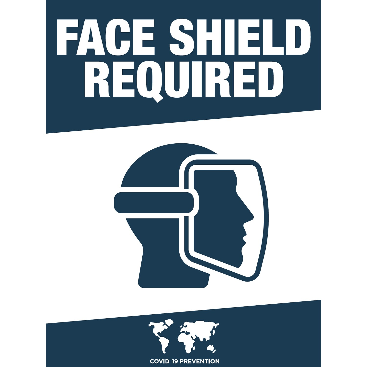 Face Shield Required -Solid Blue