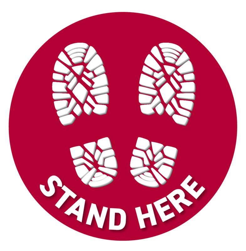 Floor Decal -Red Circle Footprints
