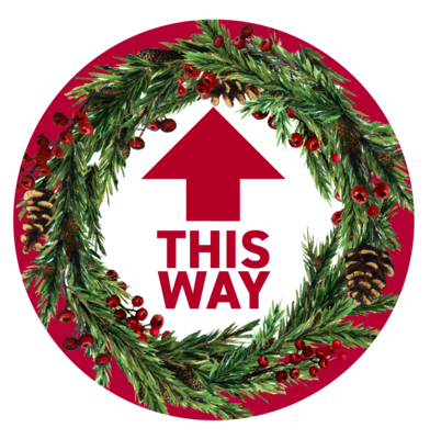 Festive Floor Decal -Red Circle This Way Wreath