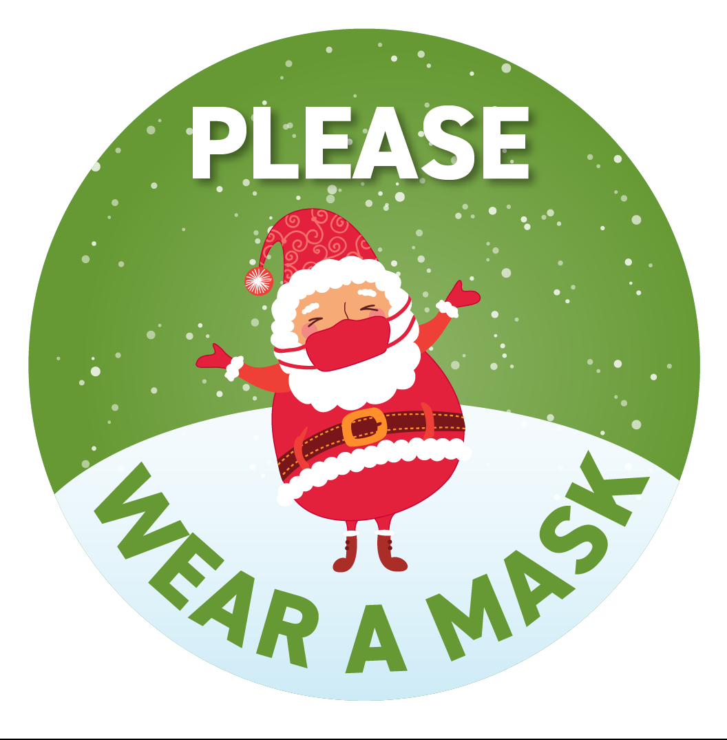 Festive Floor Decal -Green Circle Santa with Mask