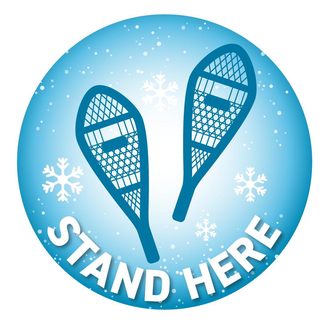 Festive Floor Decal -Winter Blue Snowshoes