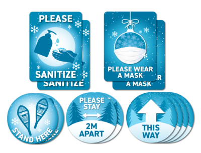 Festive Blue Decals -North Pole