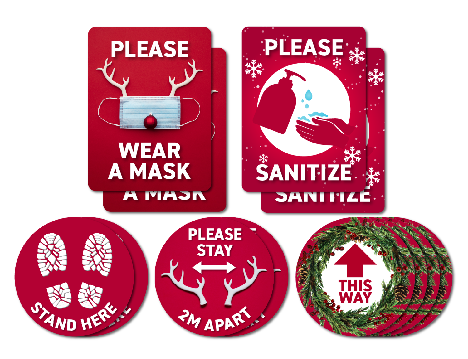 Festive Red Holiday Decals