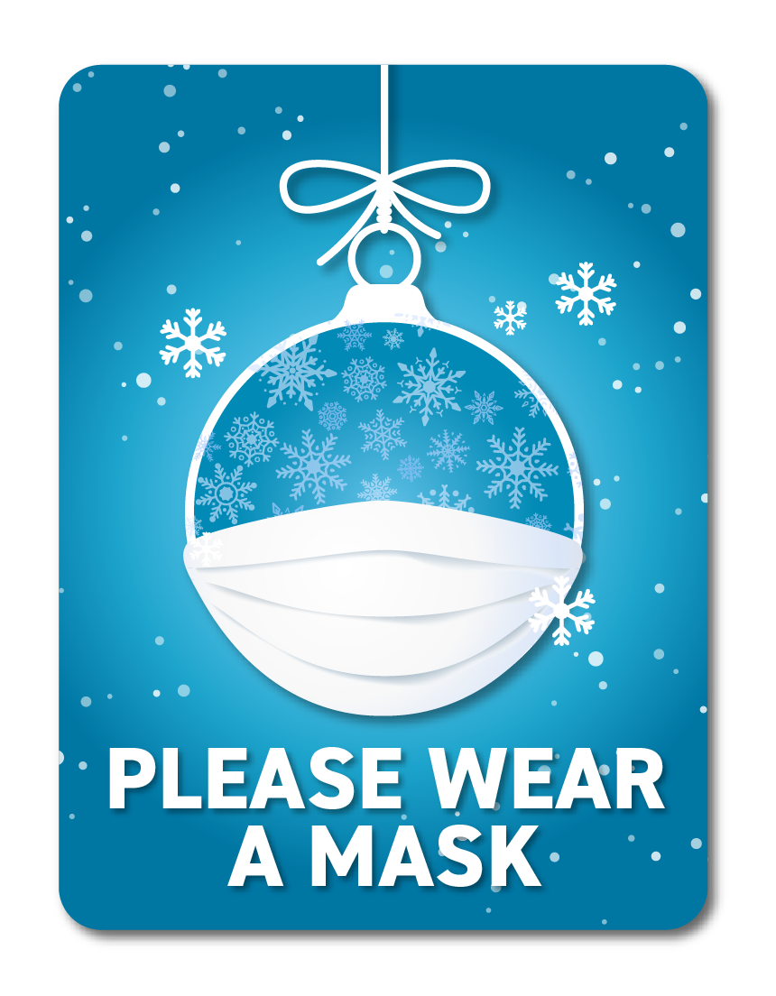 Festive Face Masks -Winter Blue Snow Globe