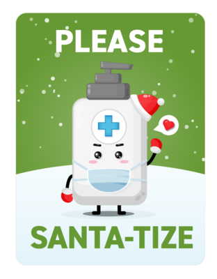 Festive Please Santa-tize -Green Bottle