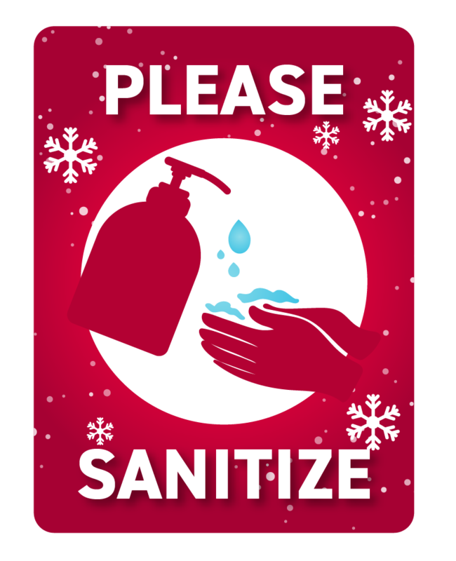 Please Sanitize -Red with Snowflakes