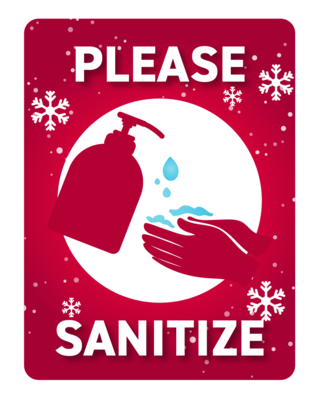 Festive Please Sanitize -Red with Snowflakes