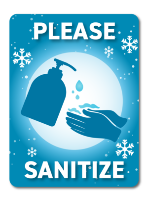 Festive Please Sanitize -Winter Blue
