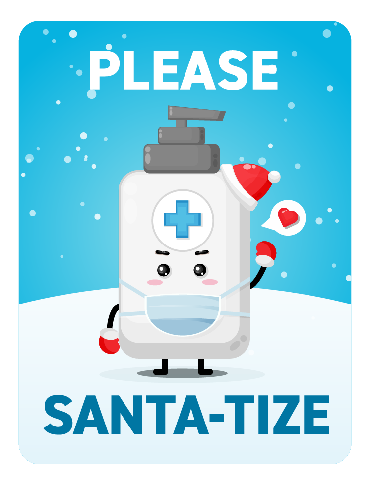 Festive Please Santa-tize -Blue Bottle