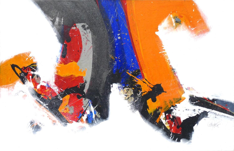 "Original Gemälde Roger Greßl ""Farbkomposition in Grau Blau Orange"""