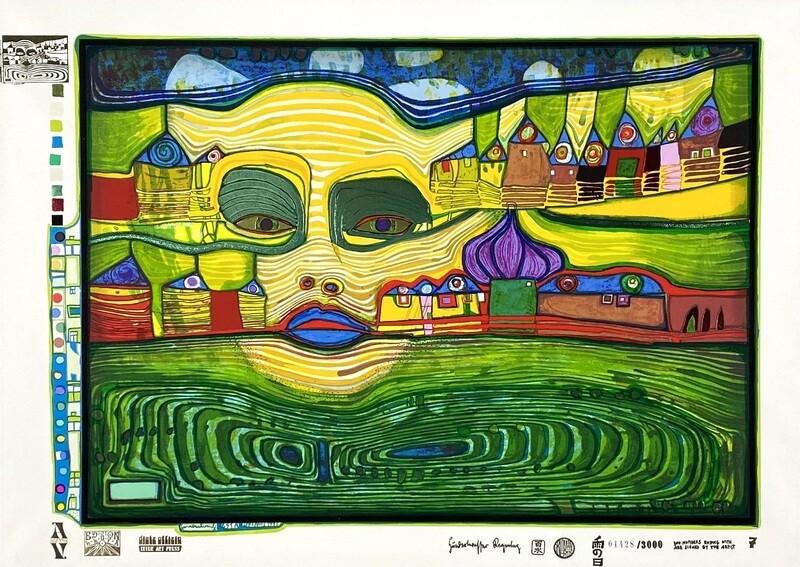 "Original Grafik Friedensreich Hundertwasser ""Irinaland über dem Balkan"" Aktuell vergriffen"