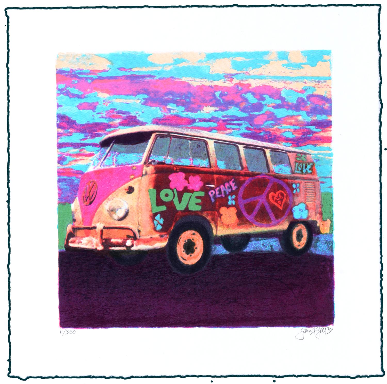 "Original Grafik James Francis Gill ""Mini Hippie Bus"""