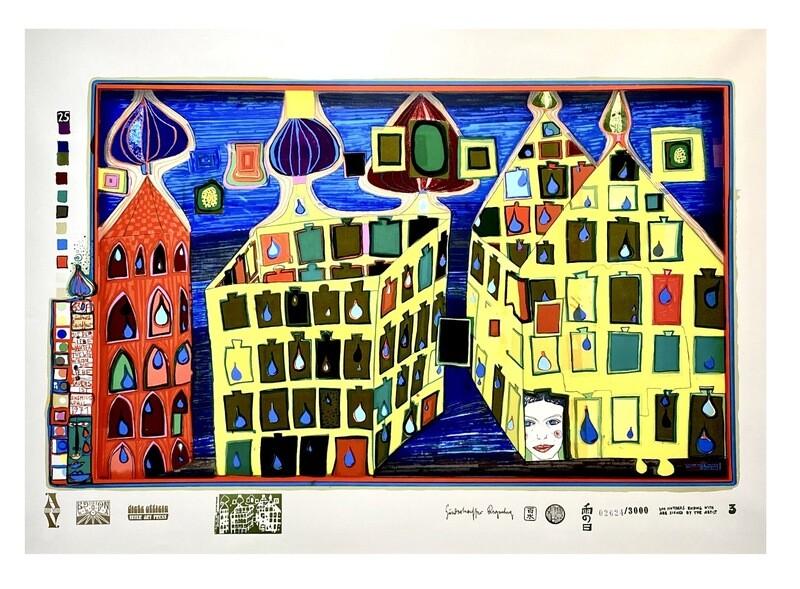 """Original Grafik Friedensreich Hundertwasser """"Mit der Liebe warten tut weh, wenn die Liebe woanders ist"""""""