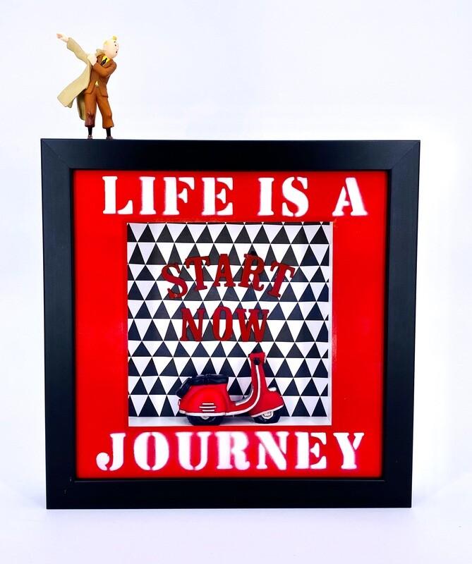 """Andreas Lichter """"Life is a journey"""" Tim und Struppi Tintin gerahmt"""