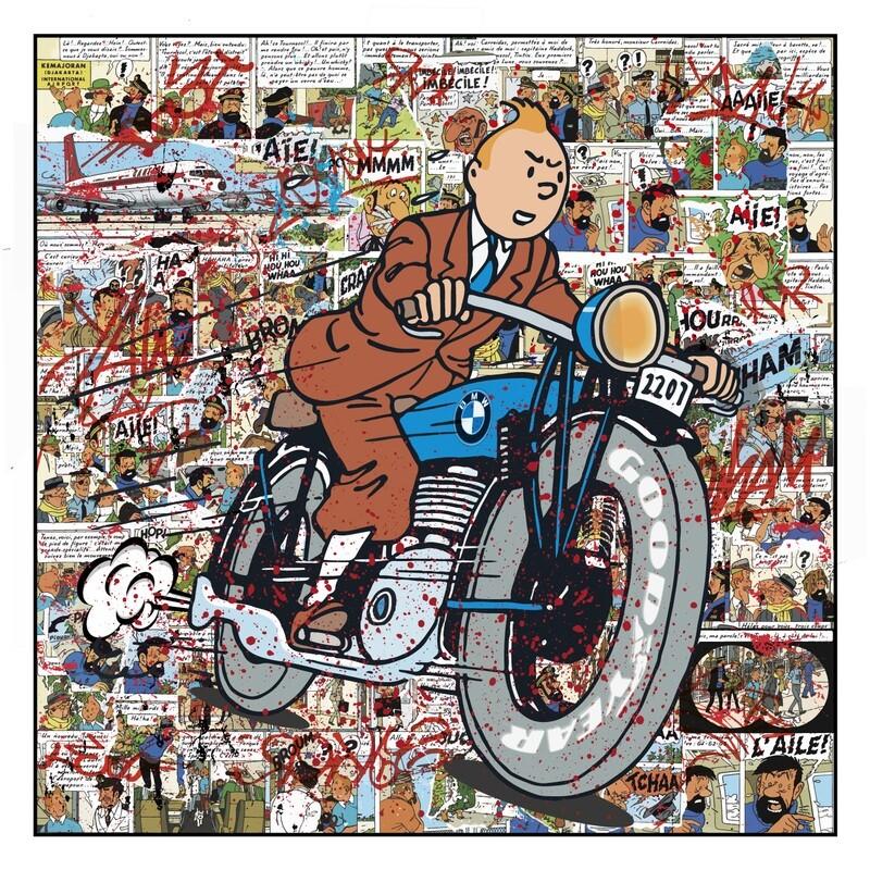 """Original Kobalt """"TinTin Tim und Struppi auf einem BMW Motorrad"""""""
