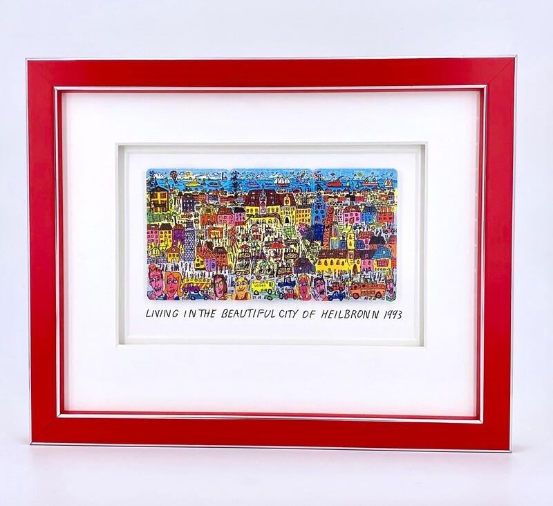 "Original James Rizzi ""Living in the beautiful city of Heilbronn"" gerahmt mit Museumsglas"