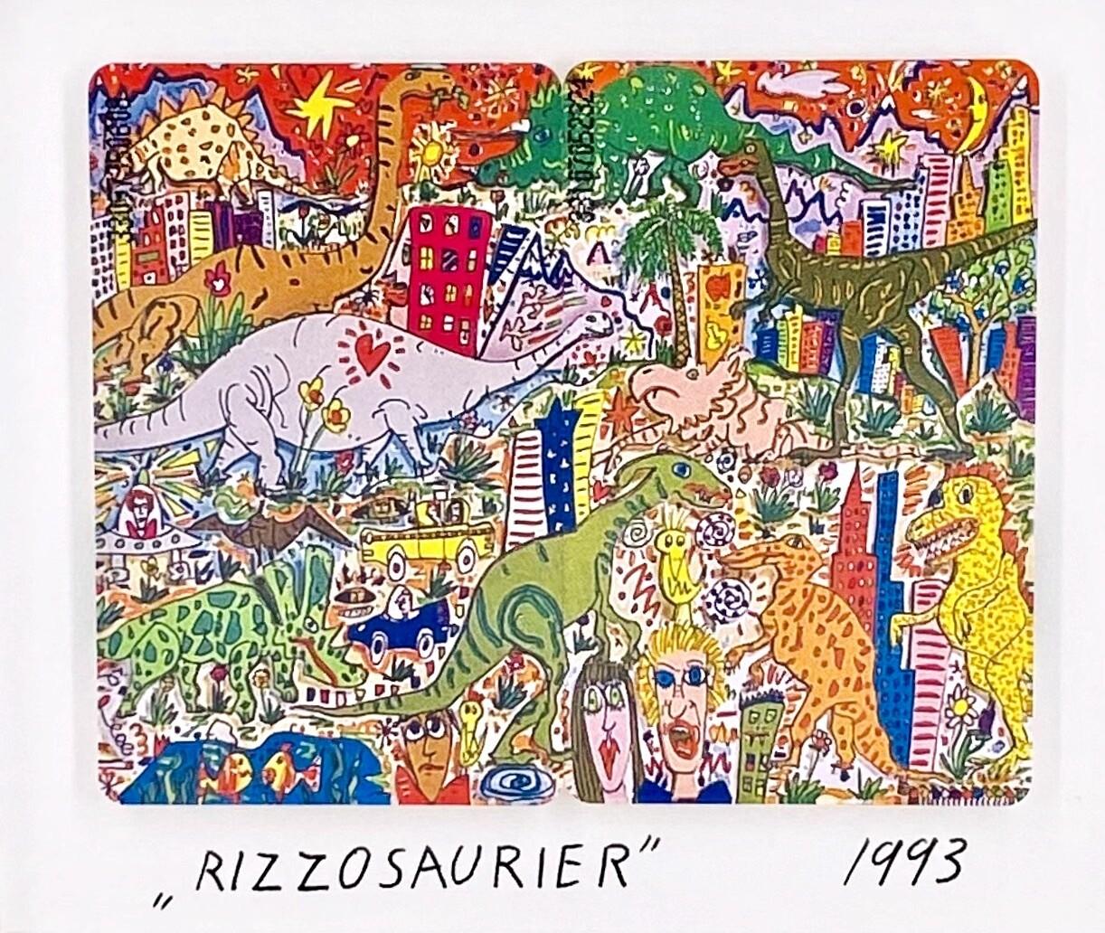 "Original James Rizzi Telefonkarten ""Rizzosaurier"" gerahmt mit Museumsglas"