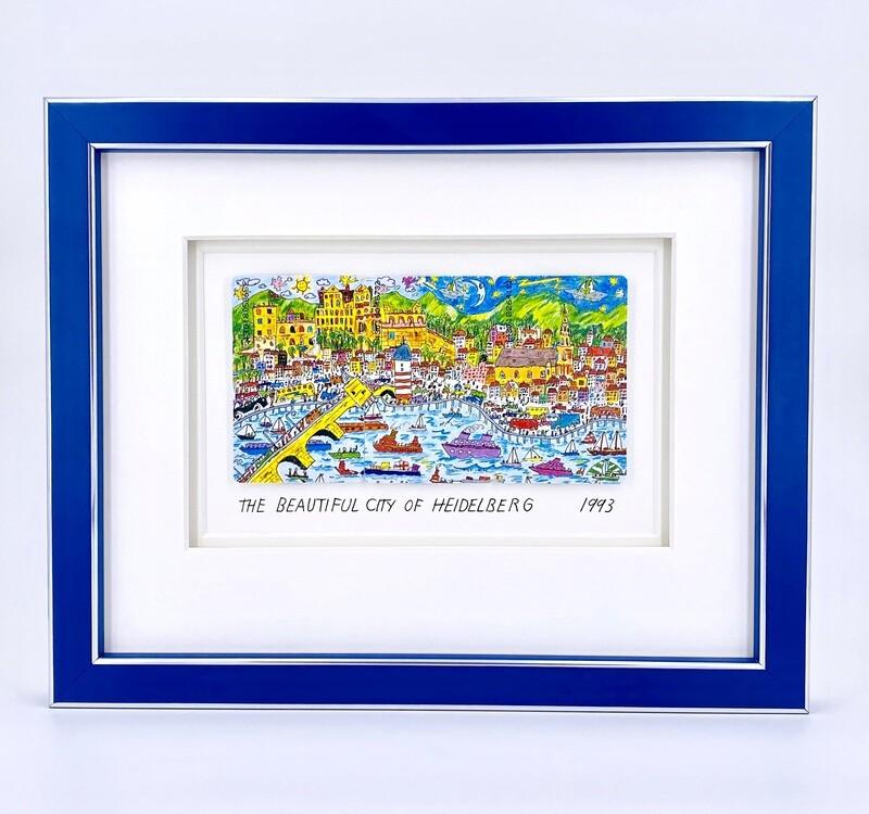 "Original James Rizzi ""The beautiful city of Heidelberg"" gerahmt mit Museumsglas"