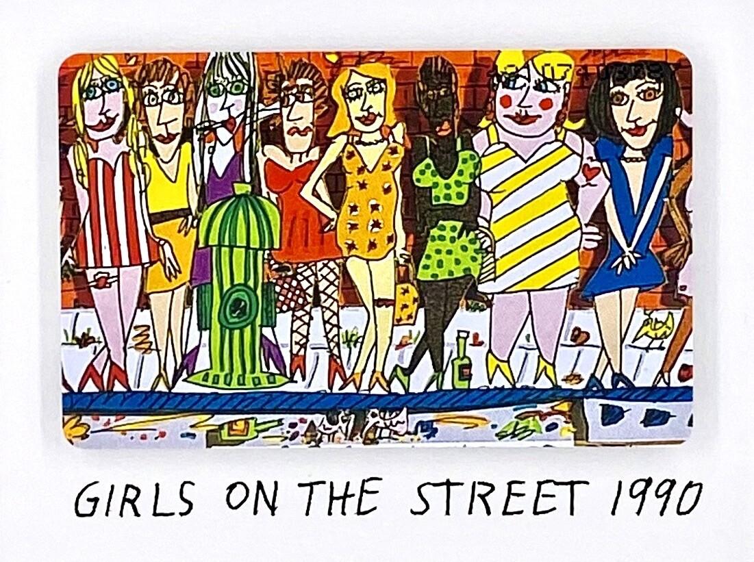 "Original James Rizzi Telefonkarte ""Girls on the Street"" gerahmt mit Museumsglas"