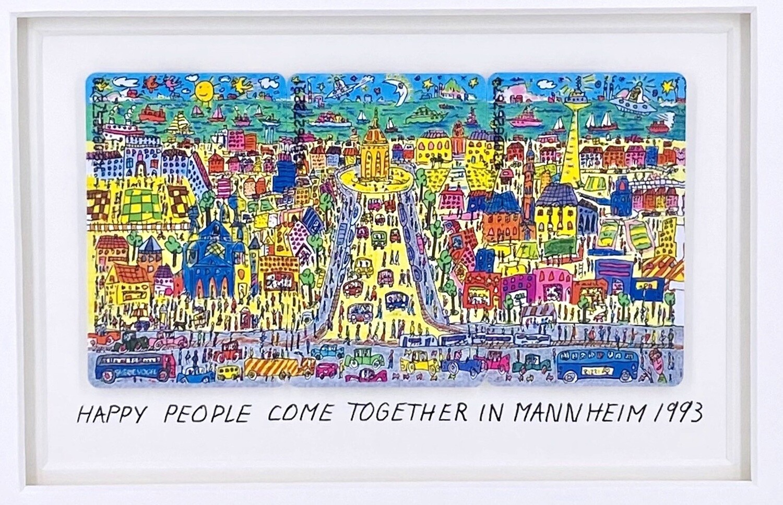 "Original James Rizzi TK ""Happy people come together in Mannheim"" gerahmt mit Museumsglas"
