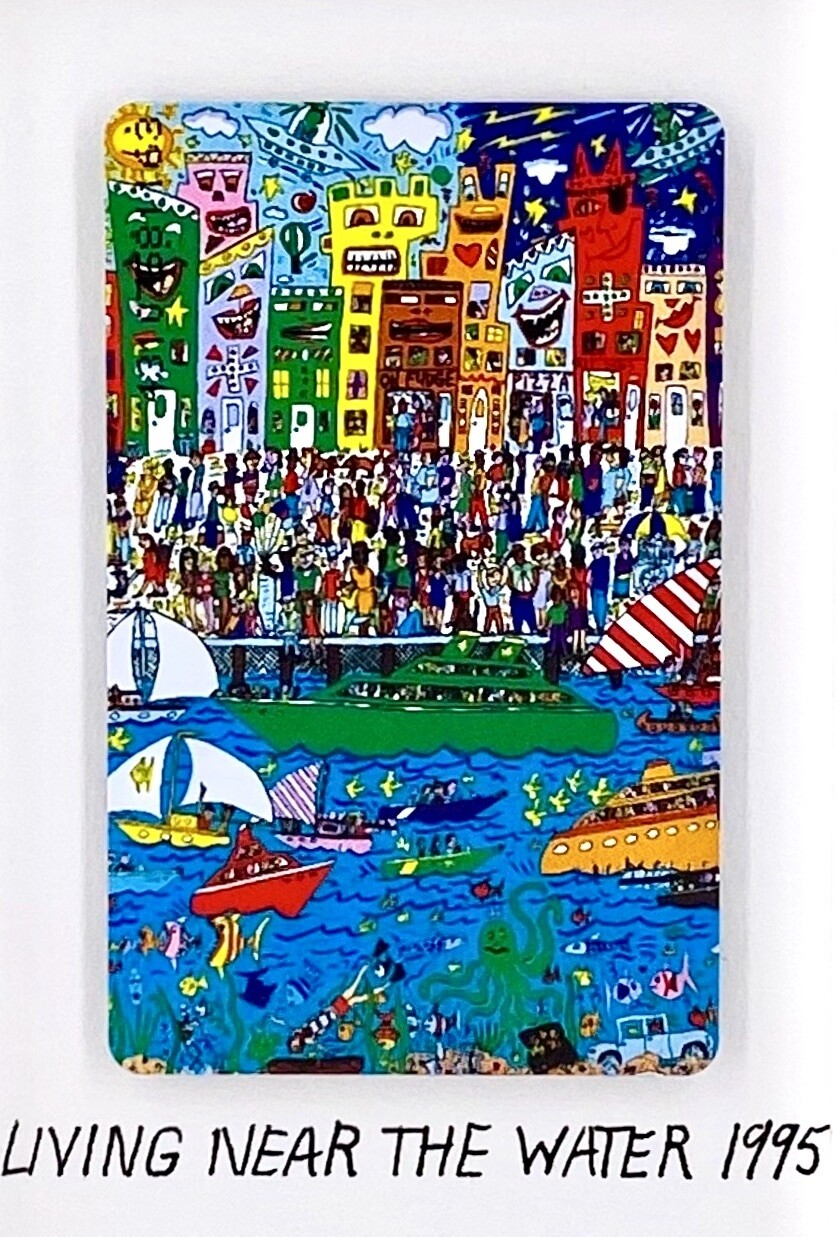 "Original James Rizzi Telefonkarte ""Living near the water"" gerahmt mit Museumsglas"