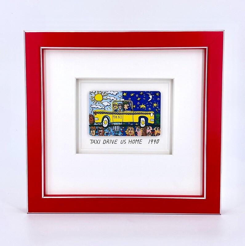 "Original James Rizzi "" Taxi drive us home"" gerahmt mit Museumsglas"
