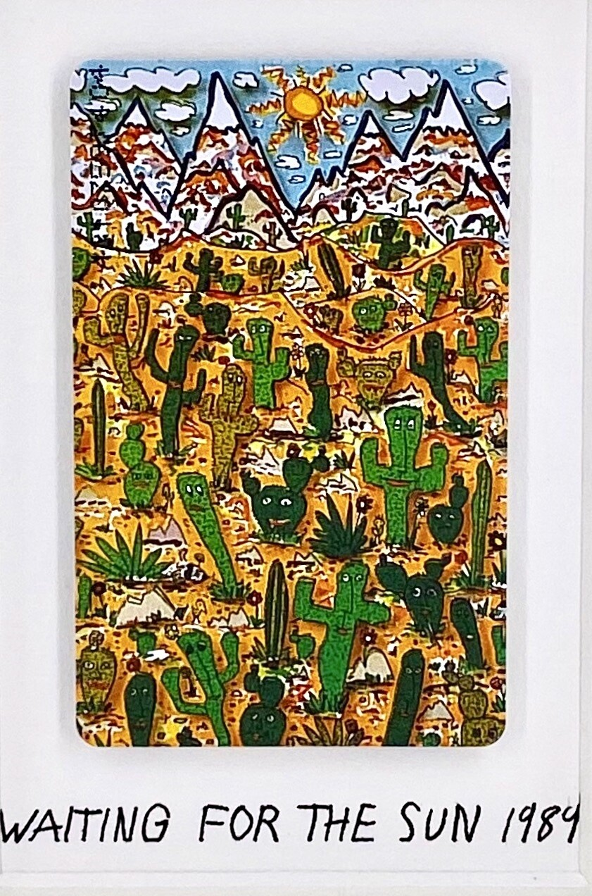 "Original James Rizzi Telefonkarte ""Waiting for the sun"" gerahmt mit Museumsglas"