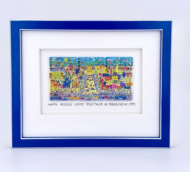 """Original James Rizzi """"Happy people come together in Mannheim"""" gerahmt mit Museumsglas"""