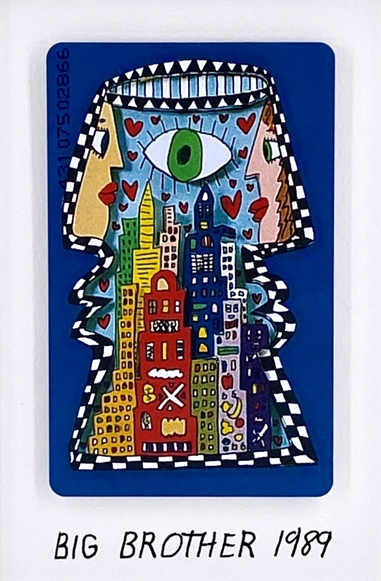 "Original James Rizzi Telefonkarte ""Big Brother"" gerahmt mit Museumsglas"