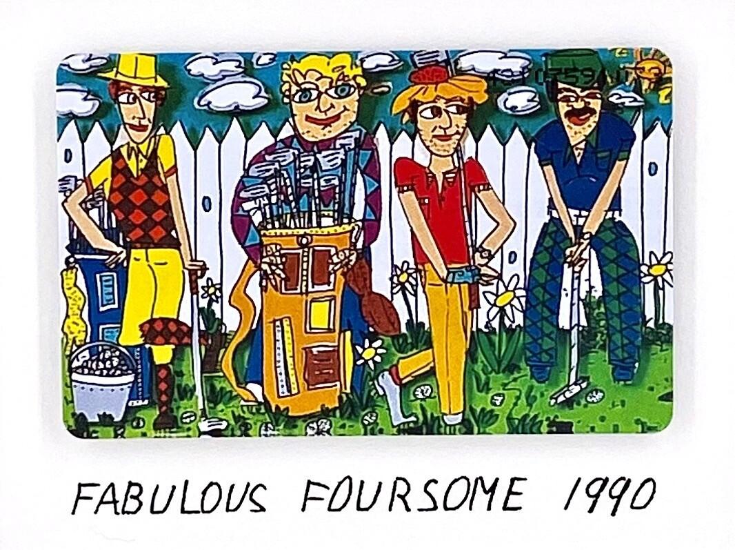 "Original James Rizzi Telefonkarte ""Fabulous Foursome"" gerahmt mit Museumsglas"