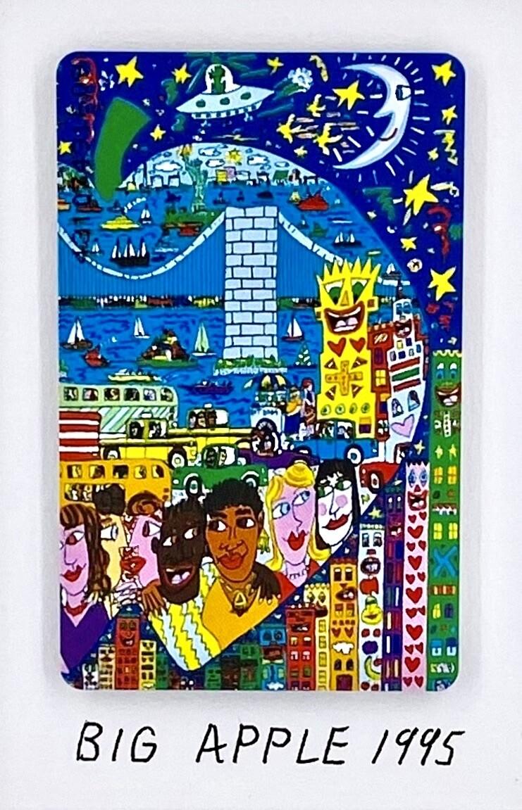 "Original James Rizzi Telefonkarte ""Big Apple"" gerahmt mit Museumsglas"