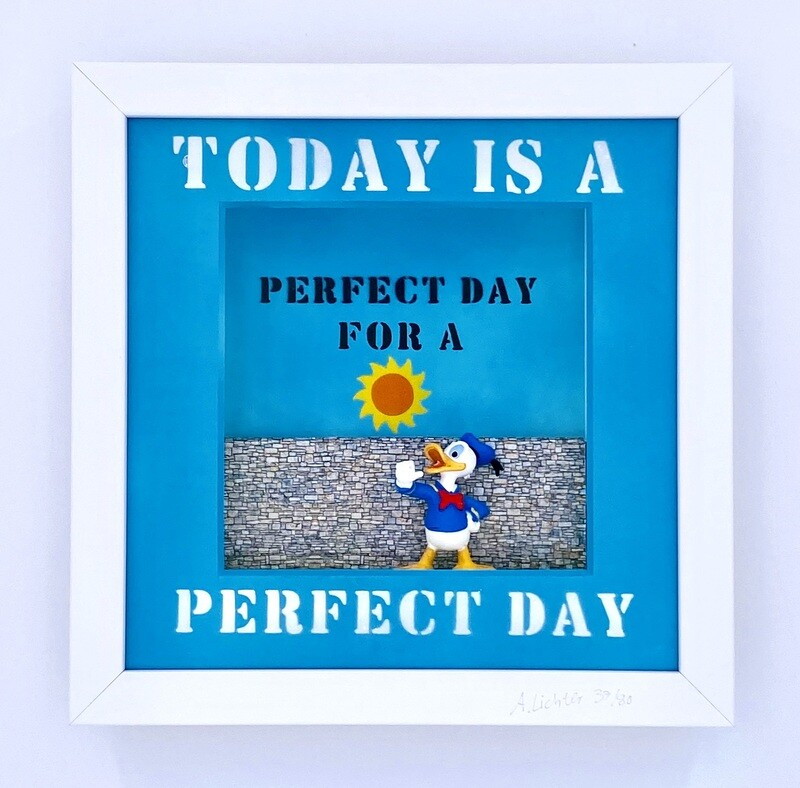 """Andreas Lichter """"Today is a perfect day"""" Donald Duck gerahmt"""