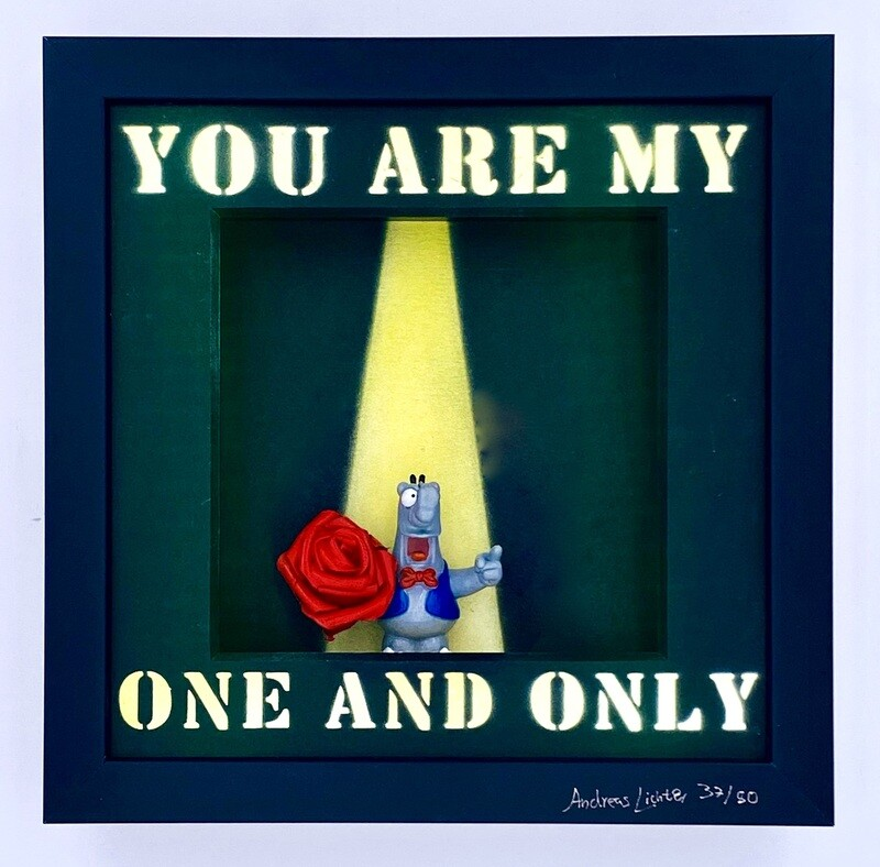 """Andreas Lichter """"You are my one and only"""" Ottifant gerahmt"""